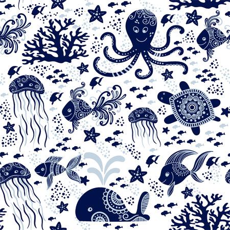 Patrón sin fisuras con animales marinos bajo el agua. Cute dibujos animados de medusas, pulpos, estrellas de mar y tortugas. Fondo marino para niños. Perfecto para estampado textil, diseño de tela y tela.