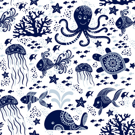 Seamless pattern with sea underwater animals. Cute cartoon jellyfish, octopus, starfish and turtles. Marine background for kids. Perfect for textile print, cloth design and fabric
