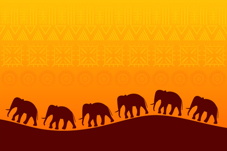 African landscape with elephants silhouette. Wildlife Background. Vector illustration Vettoriali