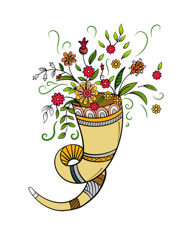 Autumn cornucopia with flowers. Hand drawn vector illustration. Illustration