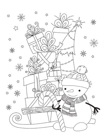 Christmas coloring page for kids and adults. Cute snowman with scarf and knitted cap. Pile of holiday presents on the sleigh. Hand drawn vector illustration.