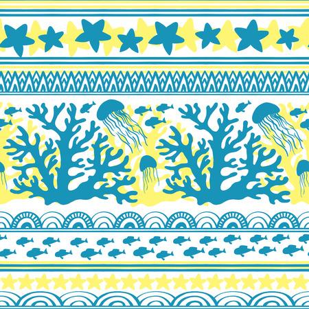 Stripe seamless pattern with sea underwater animals Reklamní fotografie - 117240748