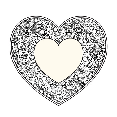 Heart with floral pattern. Valentines day adult coloring page. Vector illustration