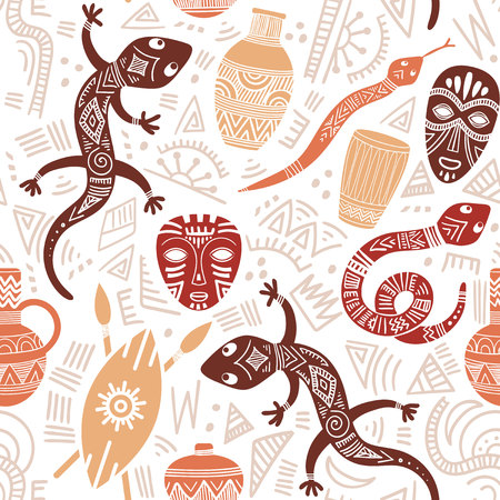 Ethnic seamless pattern with African motifs. Vector illustration. Perfect for textile print, wallpaper, cloth design, tissue, wrapping paper and fabric design. Banque d'images - 126676085