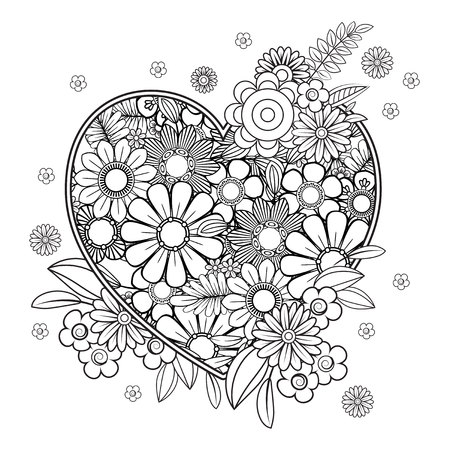 Heart with floral pattern. Valentines day adult coloring page. Vector illustration. Isolated on white background Vettoriali