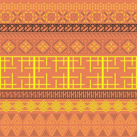Tribal ethnic seamless pattern. Abstract geometric ornament with African motifs. Vector illustration. Perfect for textile print, wallpaper, cloth design, tissue, wrapping paper and fabric design. Banque d'images - 116017776