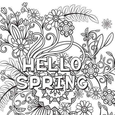 Hello spring coloring page with beautiful flowers. Black and white vector illustration. Greeting card template. Isolated on white background