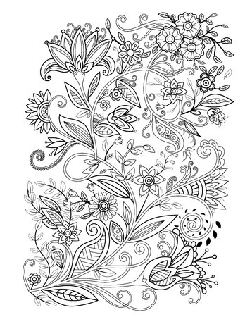 Floral adult coloring page. Black and white doodle flowers. Bouquet line art vector illustration isolated on white background. Design elements Vetores