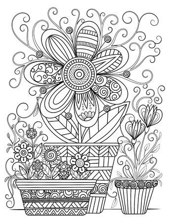 Malvorlagen für Erwachsene mit Blumen. Schwarze und weiße Doodle-Blumen. Blumentöpfe Linie Kunstvektorillustration lokalisiert auf weißem Hintergrund.