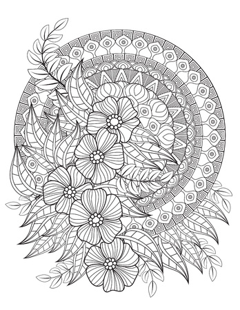 Floral mandala pattern in black and white. Adult coloring book page with flowers and mandalas. Oriental pattern, vintage decorative elements. Hand drawn vector illustration Иллюстрация