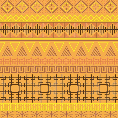 Tribal ethnic seamless pattern. Abstract geometric ornament with African motifs. Vector illustration. Perfect for textile print, wallpaper, cloth design, tissue, wrapping paper and fabric design. Banque d'images - 124882678