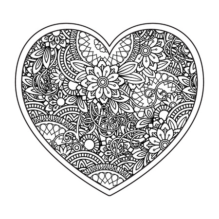 Heart with floral pattern. Valentines day adult coloring page. Vector illustration. Isolated on white background Иллюстрация