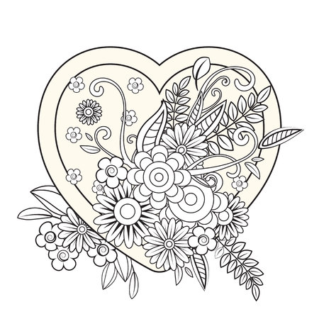 Heart with floral pattern. Valentines day adult coloring page. Vector illustration. Isolated on white background Illusztráció