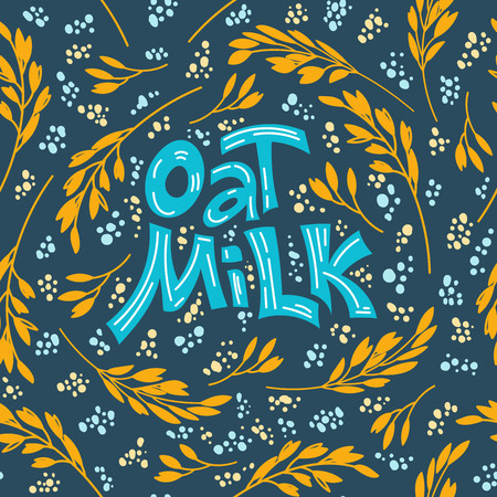 Seamlees pattern background. Oat milk hand drawn lettering. Spikes and grains of oats, glass with oat milk, carton box and glass jar of milk. Doodle style, vector illustration.