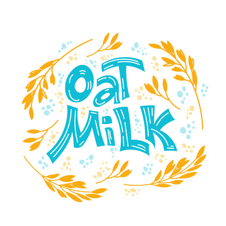 Oat milk hand drawn lettering. Spikes and grains of oats, glass with oat milk, carton box and glass jar of milk. Doodle style, vector illustration.