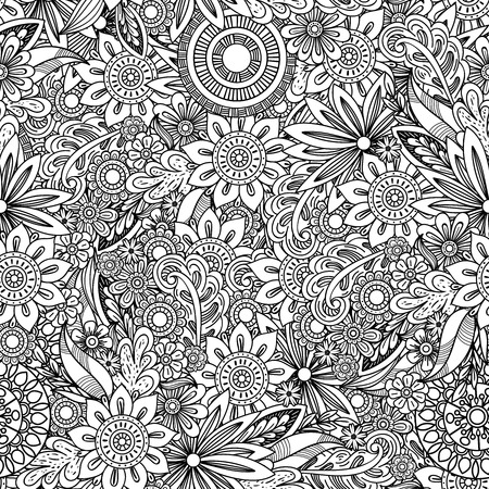 Hand drawn seamless pattern with leaves and flowers. Doodles floral ornament. Black and white decorative elements. Perfect for wallpaper, adult coloring books, web page background, surface textures. Vector Illustration