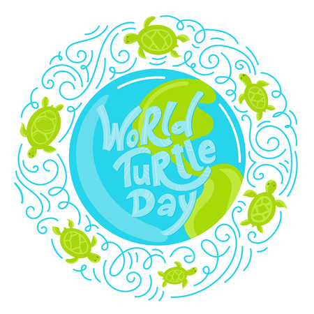 World Turtle Day 23 May background. Lettering with hand drawn elements. Modern doodle style. Vector illustration. 일러스트