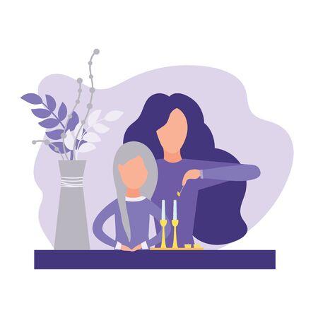 Jewish woman lighting candles Illustration