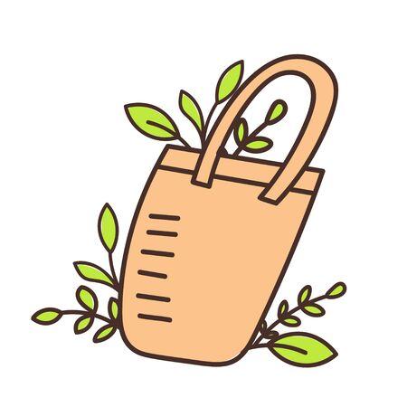 Eco bag hand drawn doodles style. Eco style. No plastic. Zero waste concept illustration.
