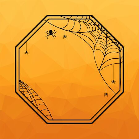 Halloween Geometric frame with spiderweb and hanging spiders on orange polygonal background. Vector illustration. 向量圖像