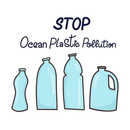 Stop ocean plastic pollution hand drawn lettering phrase and plastic bottles. Vector illustration in doodle style. Plastic pollution concept