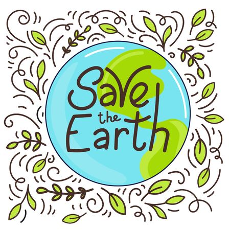 Hand drawn lettering Save the Earth motivating phrase. Vector illustration doodle style.
