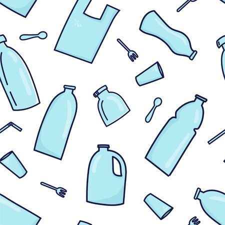 Seamless pattern background with plastic garbage, bottle, cutlery, plastic conteners, straws, cutlery. Vector illustration in doodle style. Plastic pollution concept Illusztráció