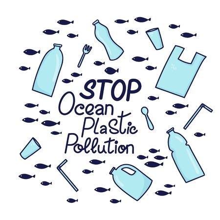 Stop ocean plastic pollution hand drawn lettering phrase. Plastic garbage, bag, bottle, plastic conteners, straws and cutleryin the ocean. Vector illustration in doodle style. Protect ocean concept