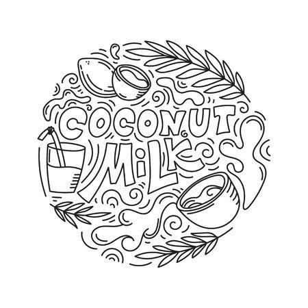 Coconut milk hand drawn lettering