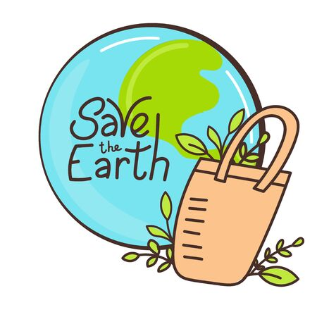 Eco bag hand drawn doodles style. Eco style. No plastic. Zero waste concept illustration. Save the Earth motivating phrase