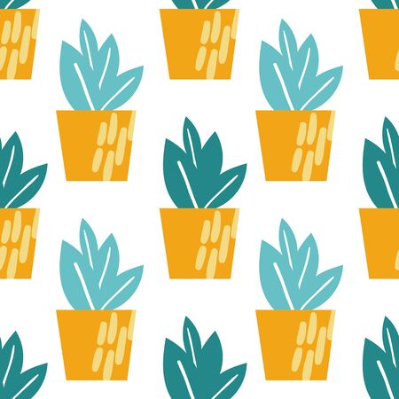 Hand drawn houseplants seamless pattern background. Flower pots and planters. Vector illustration. Perfect for textile, fabric, wrapping paper design