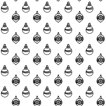 Seamless pattern with christmas toys andballs. Hand drawn doodle style. Vector illustration. Isolated on white background. Perfect for wrapping paper and coloring pages