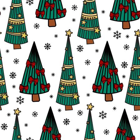 Christmas seamless pattern with fir tree and holiday decor. Hand drawn doodle style. Vector illustration. Isolated on white background. Perfect for wrapping paper, wallpaper, fabric print