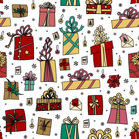 Seamless pattern with gift boxes, ribbons and bows. Winter holiday presents in hand drawn doodle style. Isolated on white background. Perfect for wrapping paper, wallpaper, fabric print 向量圖像