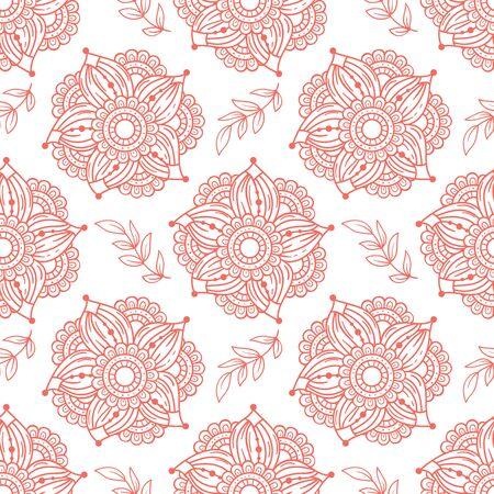 Floral seamless pattern background. Hand drawn doodle flowers. Color palette living coral. Vector illustration.