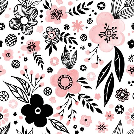 Floral seamless pattern design. Hand drawn doodle flowers and leaves. Color palette living coral. Vector illustration. Perfect for textile, fabric, wrapping paper design
