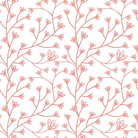 Floral seamless pattern design. Branch with small flowers and leaves. Hand drawn doodle flowers. Color palette living coral. Vector illustration. 向量圖像