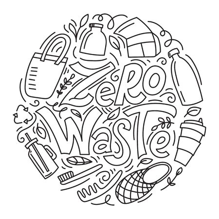 Zero waste concept. Eco lifestyle. No plastic. Recycle and reuse. Lettering with hand drawn elements. Modern linear doodle style. Vector illustration.