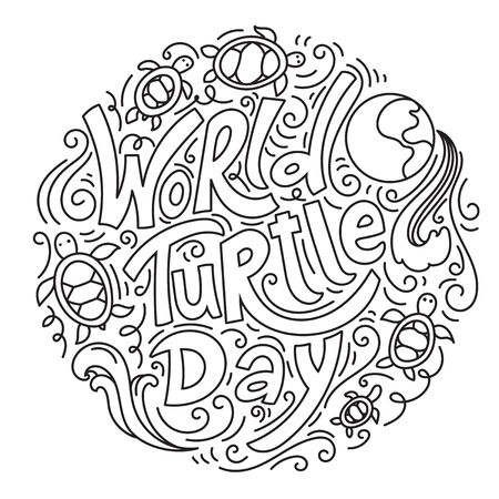 World Turtle Day 23 May background. Lettering with hand drawn elements. Modern linear doodle style. Black and white vector illustration. 向量圖像