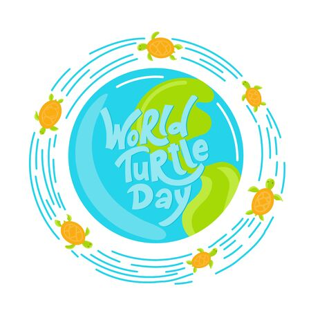 World Turtle Day 23 May background. Lettering with hand drawn elements. Modern doodle style. Vector illustration. 向量圖像