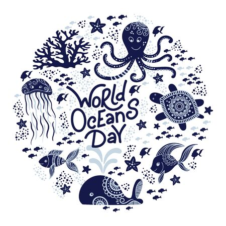 World oceans day. Sea animals. Cute jellyfish, whale, octopus, starfish, turtles and hand drawn lettering. Vector illustration in doodle style. Protect ocean concept 向量圖像