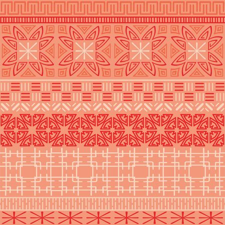 Ethnic ornament, geometric seamless pattern, living coral. Vector stripe background.