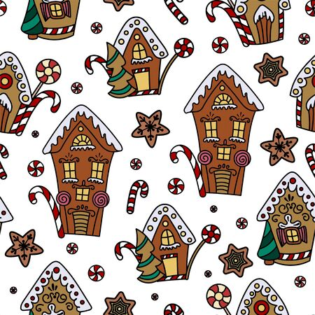 Christmas seamless pattern with gingerbread house, candy canes and lollipops. Hand drawn doodle style. Vector illustration. Isolated on white background. Perfect for wrapping paper, fabric print Ilustracja