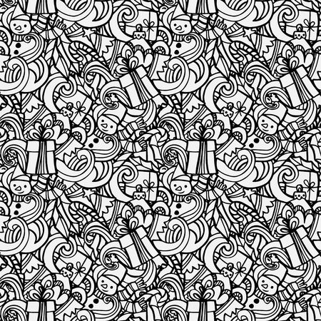 Christmas seamless pattern. Hand drawn doodles style.