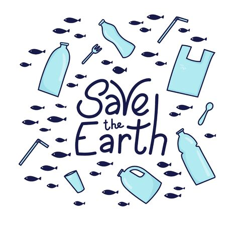 Save the Earth vector illustration. Plastic garbage (bag, bottle) in the ocean graphic design. Water waste problem creative concept. Eco problem banner with restrictive sign.