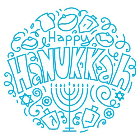 Hanukkah background. Holiday symbols: menorah (candlestick), candles, donuts, dreidel. Greeting card template design. Happy Hanukkah. Vector illustration hand drawn doodles style.