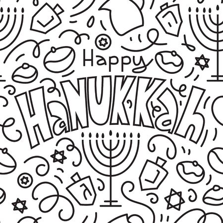 Happy Hanukkah Seamless Pattern Background. Holiday symbols: menorah (candlestick), candles, donuts, dreidel. Happy Hanukkah. Vector illustration hand drawn doodles style. Ilustracja