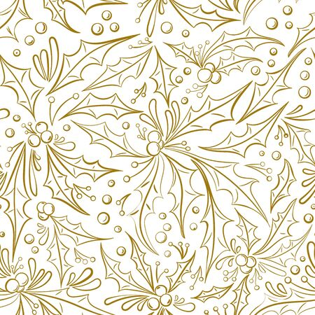 Christmas seamless pattern. Holly berries and leaves isolated on white background. Hand drawn vector illustration. Seamless pattern can be used for wallpaper, textile, fabric, wrapping paper 向量圖像