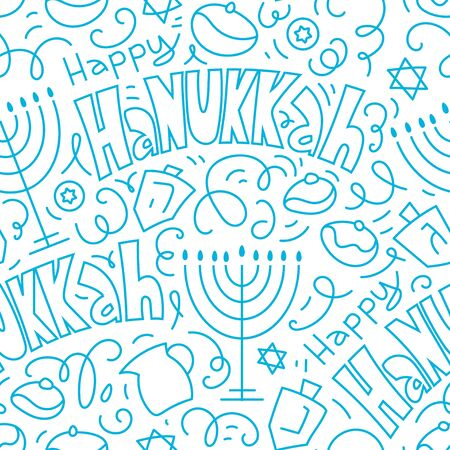 Happy Hanukkah Seamless Pattern Background. Holiday symbols: menorah (candlestick), candles, donuts, dreidel. Happy Hanukkah. Vector illustration hand drawn doodles style. 向量圖像
