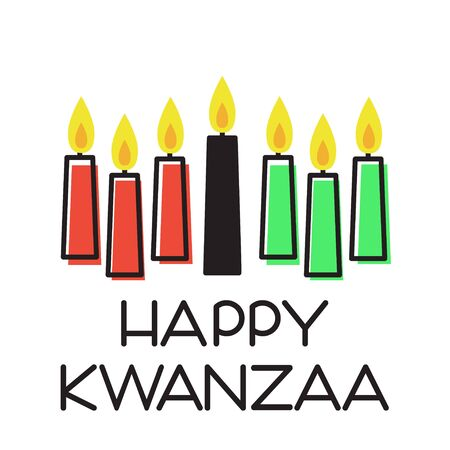 Happy Kwanzaa. Vector illustration with traditional colored candles.
